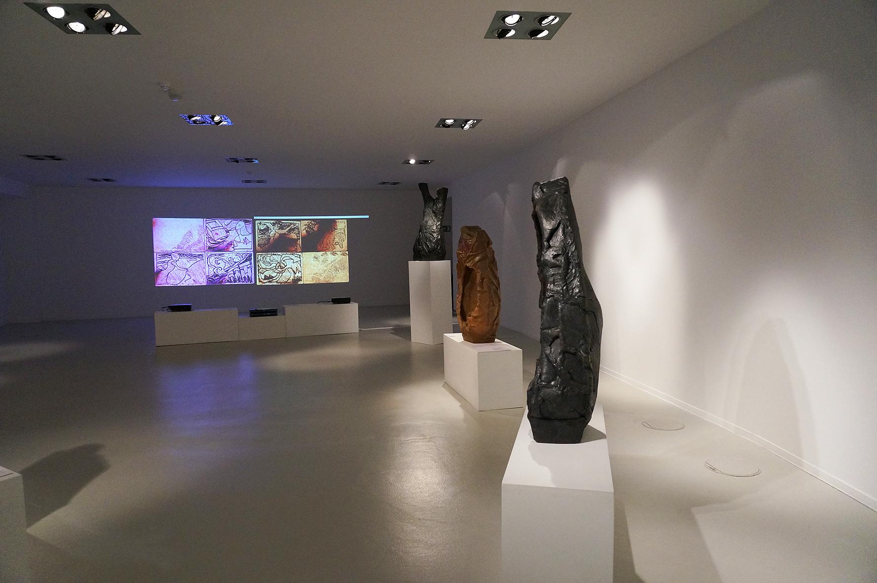"""""""Les lies"""", animations en hommage à Marcel Moreau. Exposition avec les roches-torses d'Alain Gaudebert. Mons. Décembre 2014"""