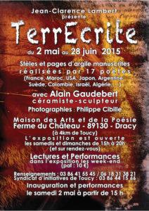 Affiche de l'exposition TerrEcrite à Dracy, mai-juin 2015