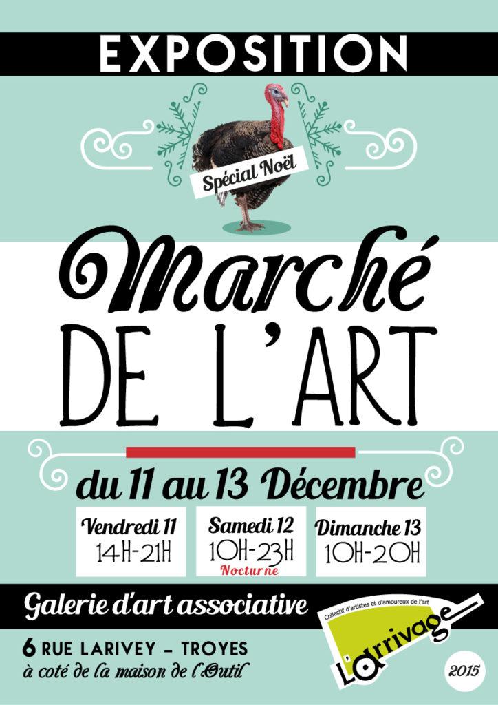 Affiche Exposition de Noël. Galerie l'Arrivage Troyes